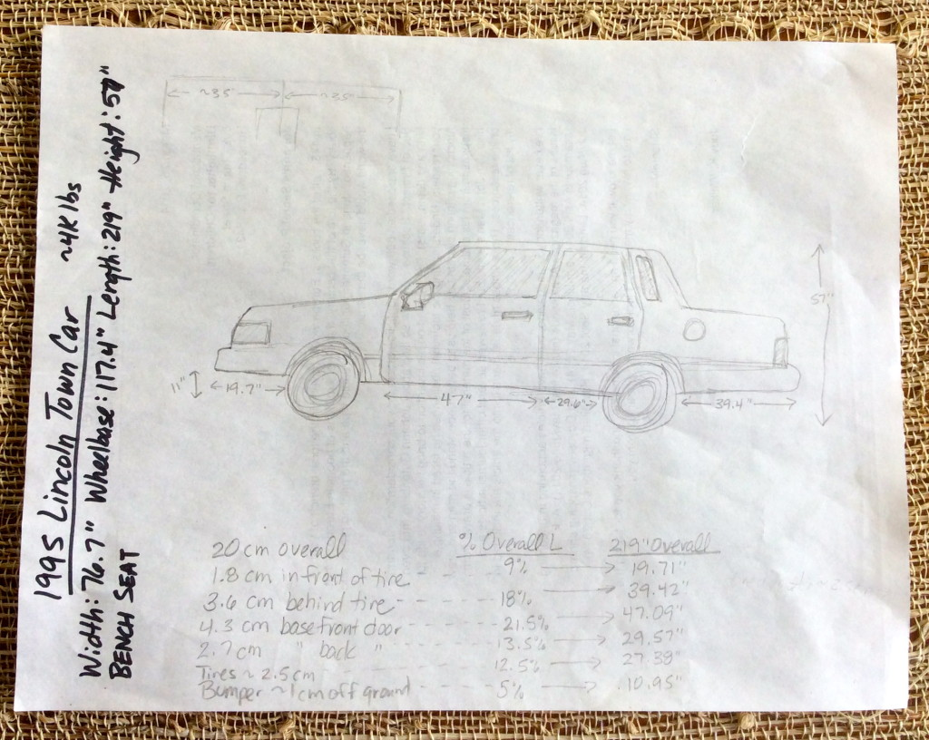 "Lincoln Town Car sketched by author Judy K. Walker while writing ""The Perils of Panacea"""