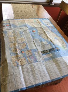 Florida road map open on dining table