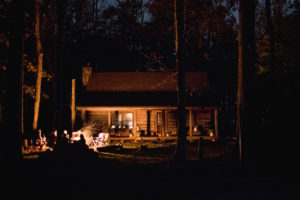 Cabin with fire at night by Teddy Kelley from stocksnap.io