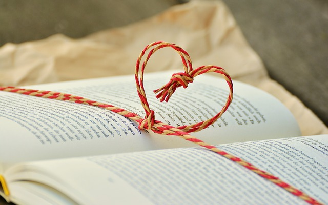 Book marked with heart
