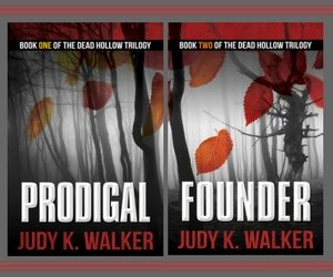 Covers for Prodigal and Founder, Books One and Two of the Dead Hollow Trilogy
