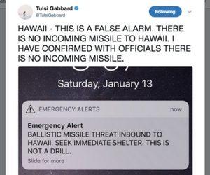 Screenshot of Rep. Tulsi Gabbard's tweet confirming Jan 13 missile alert is false