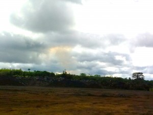 View from above Pahoa Community Center on Sept 15, 2014, with clouds and yellow smoke on the horizon