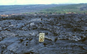 30 mph speed limit sign encased in lava