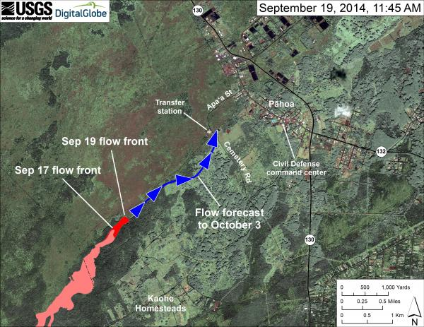 USGS 9-19-14 map showing the June 27th lava flow and projected path
