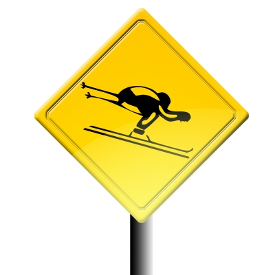 Yellow sign with downhill skier