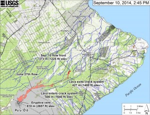 USGS map showing Kilauea flow into lower Puna