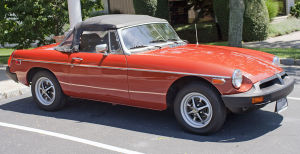 Red 1975 MG convertible
