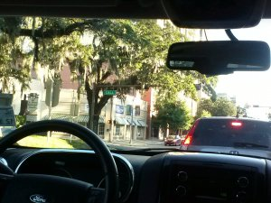 View from car in downtown Tallahassee, FL, by Judy K. Walker