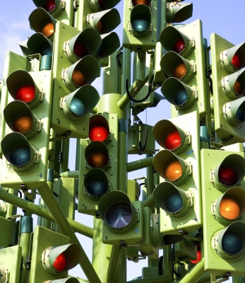Confusing Traffic Signals At A Busy Intersection Stock Photo by Stuart Miles on freedigitalphotos.net
