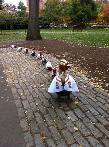 Duckling sculptures costumed as Red Sox baseball fans, Boston Public Garden, Massachusetts, USA by M2545