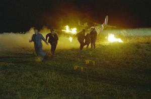 Burning airplane from Foyle's War Set 3 from www.foyleswar.com
