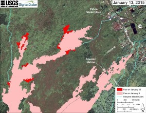 Jan 13, 2015 map of Jun 27, 2014, lava flow from Hawaiian Volcano Observatory