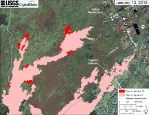 Jan 13, 2015 map of Jun 27, 2014, lava flow from Hawaiian Volcano Observatory