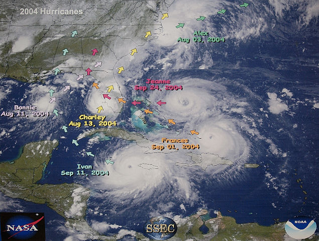 NOAA map graphic illustrates the active 2004 Hurricane season in Florida