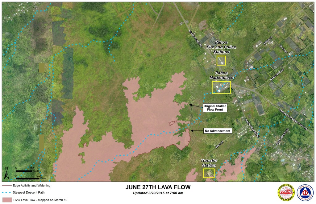 Mar 20, 2015, map of Jun 27, 2014, Kilauea lava flow from Hawaii County Civil Defense