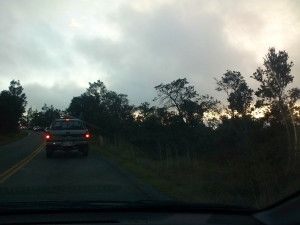 Stuck with all the other cars on the Volcano Park Road by Judy K. Walker