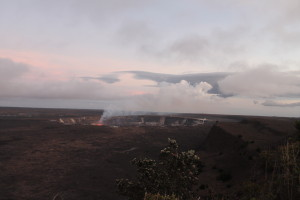 View of Halema'uma'u Crater from trail by Judy K. Walker