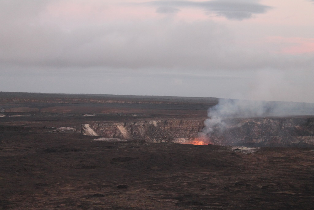 A closer view of Halema'uma'u Crater from trail by Judy K. Walker