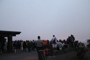 Crowd at Jaggar Museum looking at caldera by Judy K. Walker