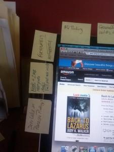 Judy K. Walker's laptop with sticky notes