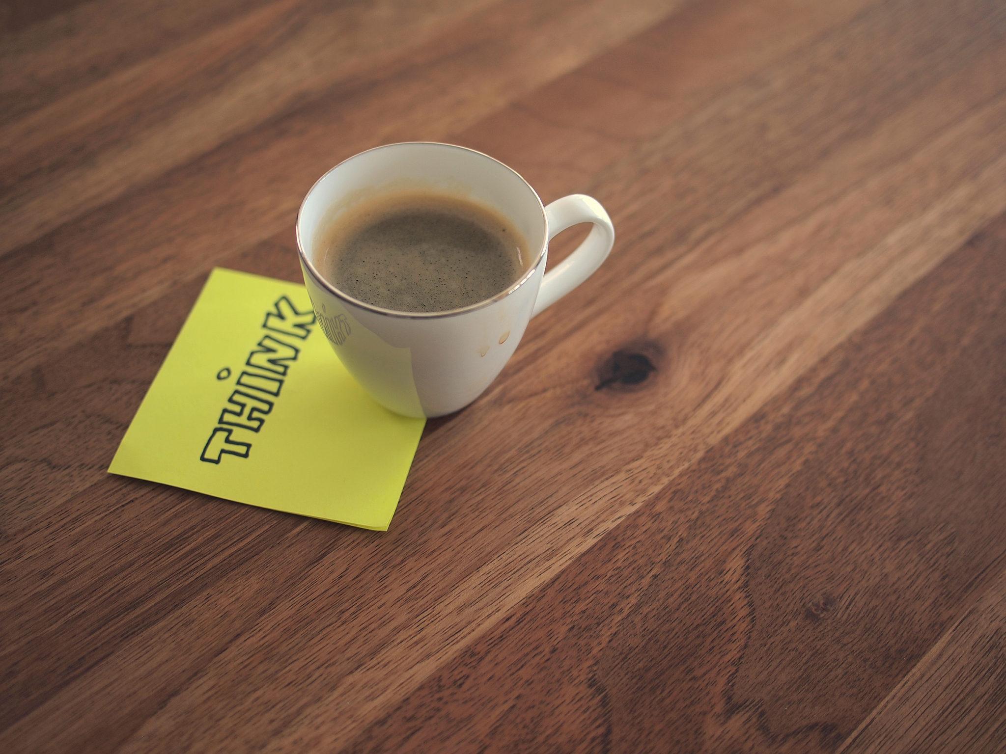 "Espresso on ""Think"" sticky note by Daria Nepriakhina"