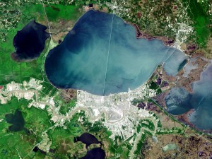 Landsat image of Lake Pontchartrain by NASA from http://earthobservatory.nasa.gov/Newsroom/NewImages/Images/landsat_new_orleans_nfl_lrg.jpg