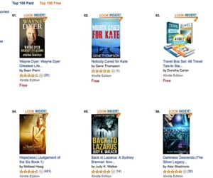 Screenshot of Kindle Top 100 Free from Sept 30, 2015, by Judy K. Walker