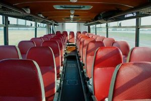 Bus interior of on old vehicle