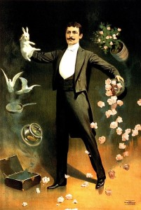 Zan_Zig_performing_with_rabbit_and_roses,_magician_poster,_1899-2