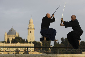 Yossi Sharif (R) is an authorized Ninjutsu instructor who runs The Akban School of Martial Arts which was founded in 1985 that teaches Budo Ninjutsu, Capoeira, Judo, Traditional weapons, Brazilian Jiu-Jitsu and Aikido. Dec. 9 2009. Poto by Nati