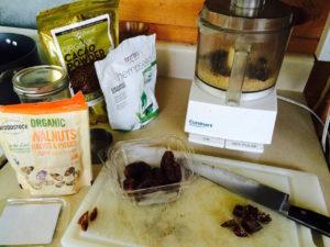 Raw brownie prep (ingredients and food processor) by Judy K. Walker