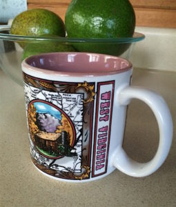 WV mug in front of avocados by Judy K. Walker