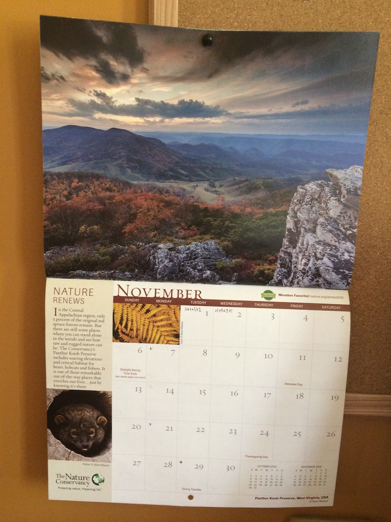 Calendar with picture of WV by Judy K. Walker