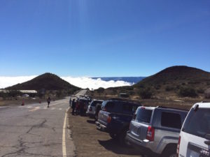 Parking next to the Mauna Kea Visitor's Center by Judy K. Walker
