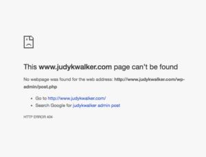 Screenshot of Post error by Judy K. Walker