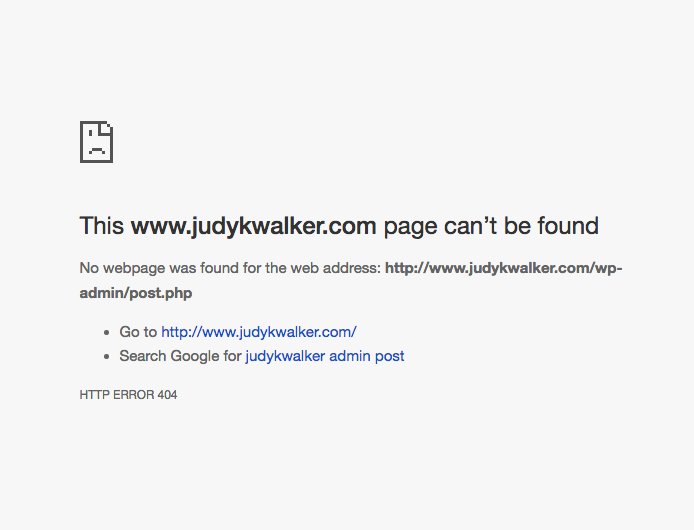 Screenshot of Post error by Judy K. Walker