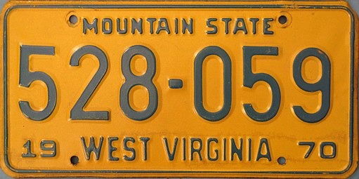 1970 West Virginia license plate By Absecon 49 (Own work) [CC BY-SA 4.0, via Wikimedia Commons