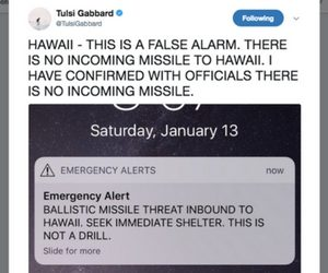 Screenshot of Rep. Tulsi Gabbard's tweet confirming Jan 13 missile alert is false