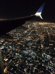 View of LA from the air at night