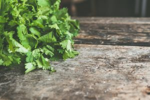 Fresh cilantro on a wooden cutting surface