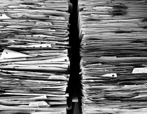 Stack of paper in black and white