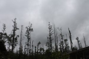 View of the overcast sky in lower Puna, Hawaii Island, on May 31, 2018