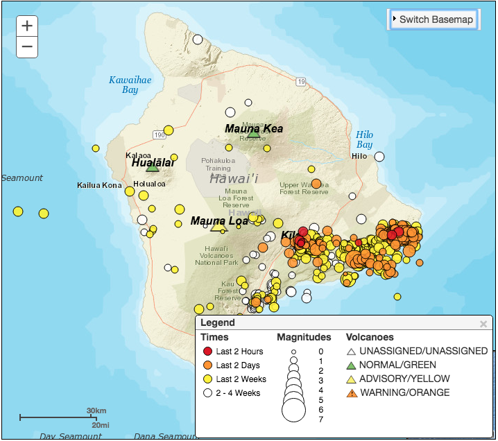 Screen capture of USGS map of Hawaii earthquakes on May 4, 2018