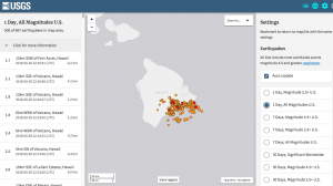 Screenshot of USGS earthquake listings in Hawaii on May 5, 2018