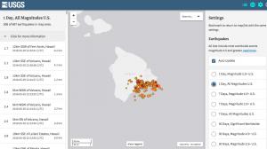 Screenshot of USGS earthquake listings in Hawaii on May 5, 2018
