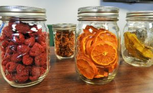 Jars of preserved fruit