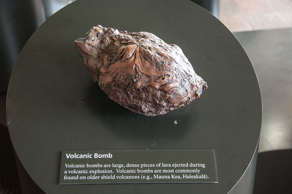 Volcanic (lava) Bomb from Hawaii's Jaggar Museum by National Park Service/Ed Shiinoki [Public domain], via Wikimedia Commons