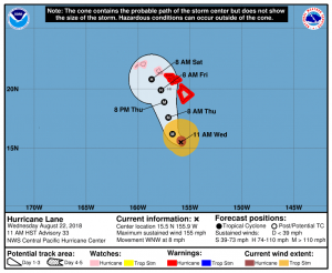 NOAA Central Pacific Hurricane Center predicted track for Hurricane Lane on August 22, 2018
