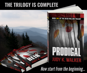 Dead Hollow trilogy by Judy K. Walker against a mountain background